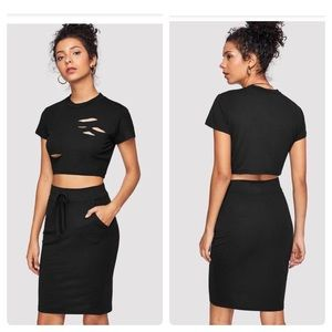 Dresses & Skirts - Two Piece Crop Top and Skirt